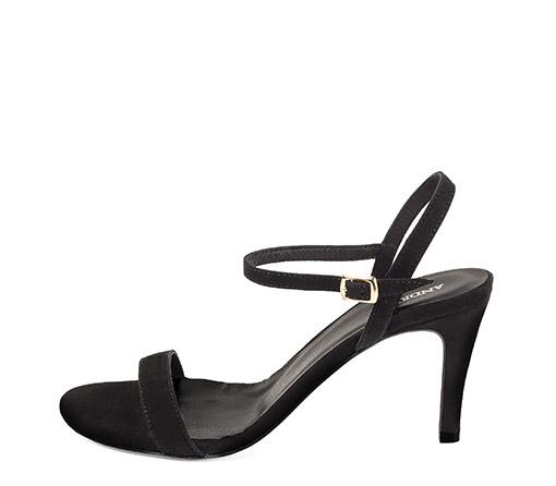 Ref. 3323 Sandalia ante negro con pulsera en el tobillo y tacón de aguja de 8.5 cm.