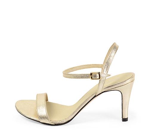 Ref. 3324 Sandalia piel color oro con pulsera en el tobillo y tacón de aguja de 8.5 cm.