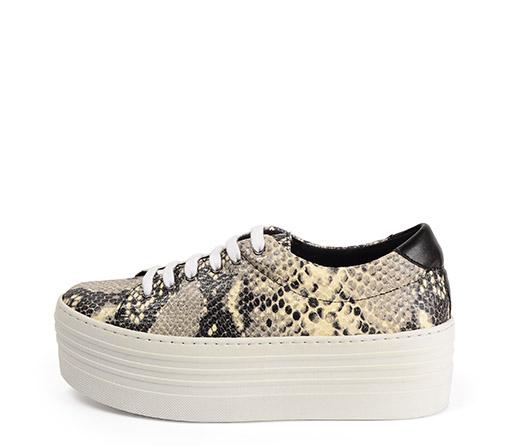 Ref. 3330 Sneaker piel serpiente beige con cordones. Plataforma de 5.5 cm.