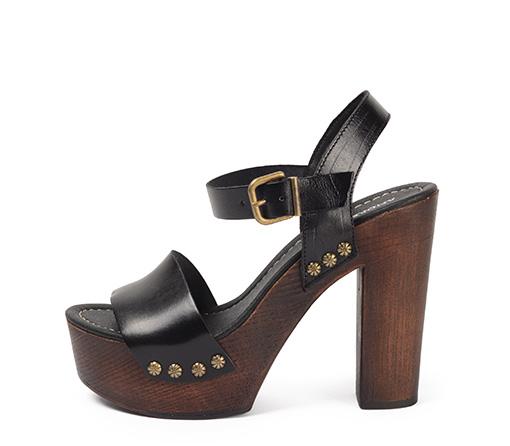 Ref. 3338 Sandalia piel negro con tacón efecto madera de 12.5 cm y plataforma de 4 cm.
