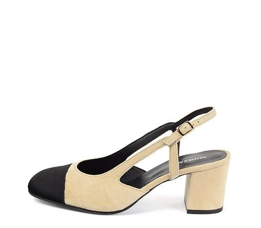 Ref. 3386 Zapato ante beige con puntera en ante negro. Tacón de 6.5 cm.