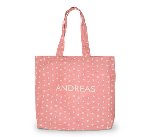 Ref: 3536 Bolsa ANDREAS de algodón rosa desgastado, con estampado de estrellas en color crudo y logo ANDREAS en el centro. Medidas 42x39x11. Ideal para llevártela en vacaciones