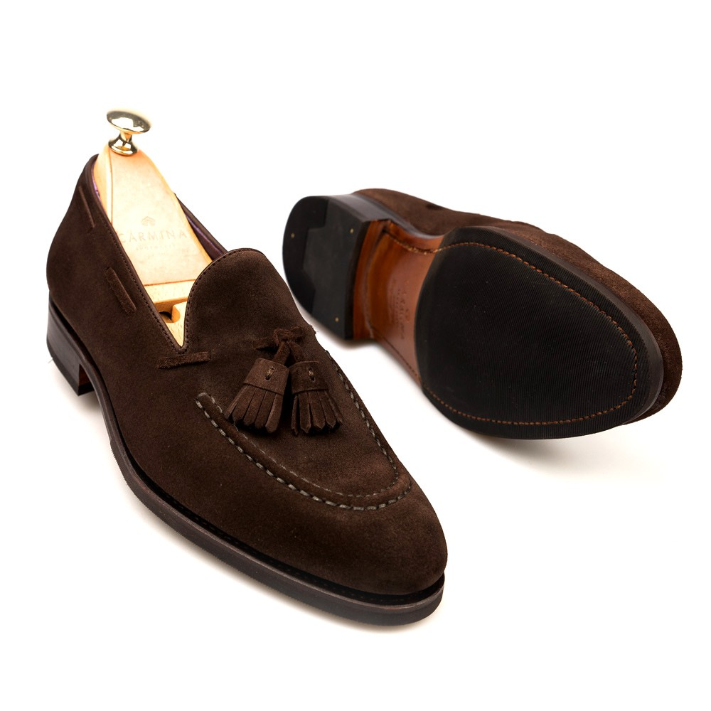 Handmade men's tassel loafers in grey leather. Handmade men's tassel loafers shoes in grey faded leather with leather sole. Made in Italy. All our merchandise is immediatelly available shipped in 24h from order with DHL or FedEx courier with delivery in 2/4 days all around the world.