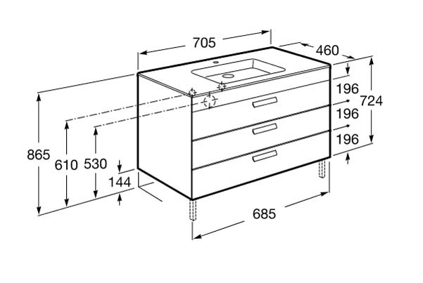 Meuble salle de bain unik debba standard 3 tiroirs roca for Hauteur standard meuble salle de bain
