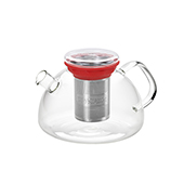 All in One Teapot Red 1.1l. Glass teapots Tea Shop®