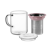 All in One Mug Light Pink. Glass Mugs Tea Shop