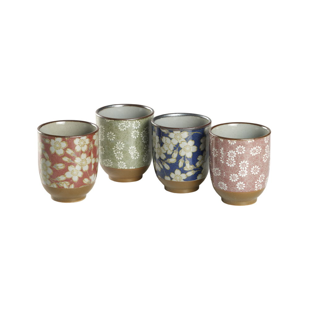 Set Vasos Florales. Porcelain Japanese Mugs Tea Shop® - Item1