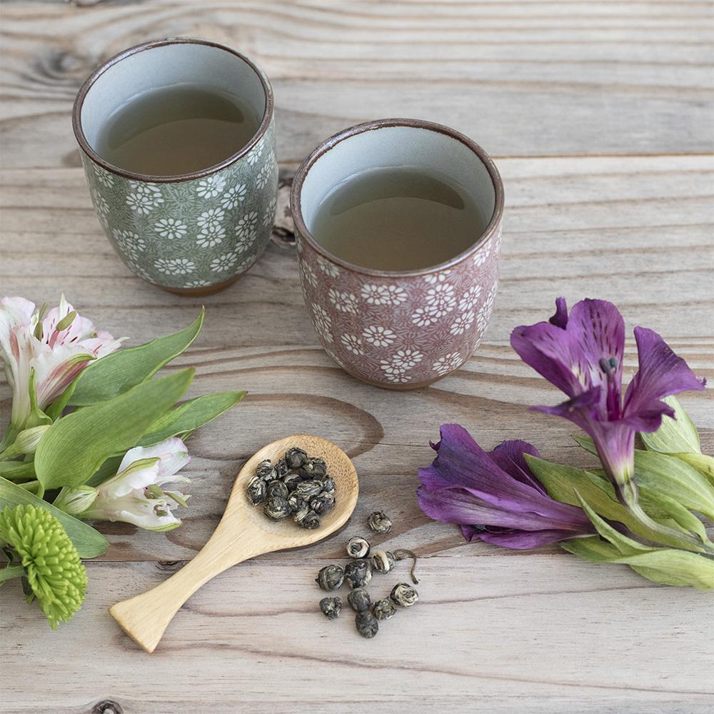 Set Vasos Florales. Porcelain Japanese Mugs Tea Shop® - Item4