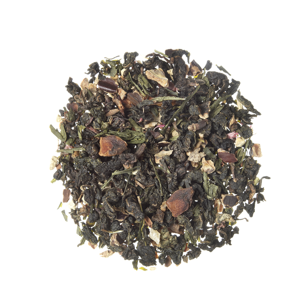 Spicy Strawberry_ Oolong (blue) tea. Loose teas. Teas, rooibos teas and herbal teas, Digestive, Diabetics, People with Coeliac Disease, People Intolerant to Nuts, People Intolerant to Lactose, People Intolerant to Soya and Soya Products, Vegetarians, Children, Pregnant Women, Fruity,Spiced, Fruity,Spiced,Tea Shop®