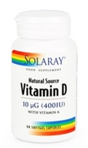 Solaray Vitamin D3 400UI 120 perlas