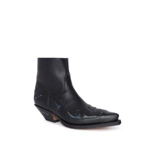 Compra en Noel Western Boots estos botines Sendra Western para hombre en cuero negro con piel de serpiente y cremallera modelo 7342 horma Cuervo con envíos gratis a península clave 10051