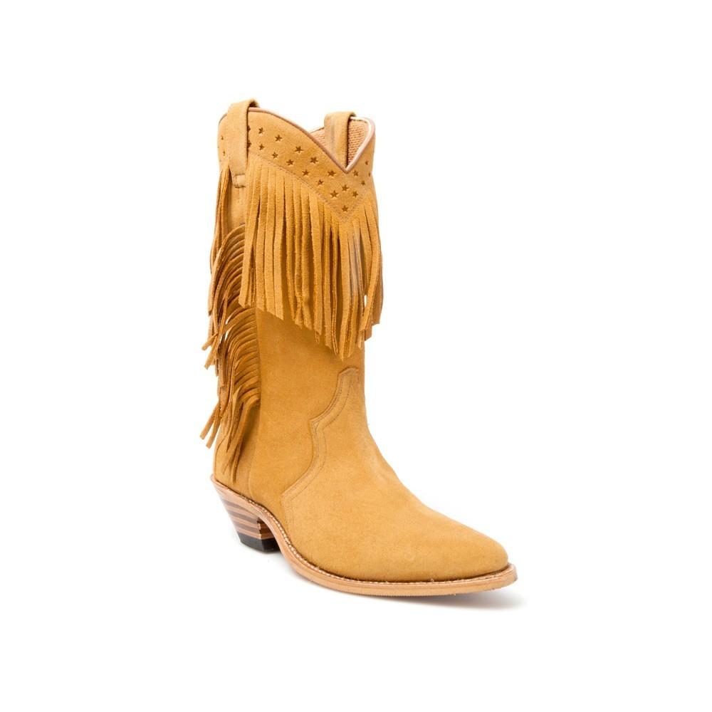 Compra en Noel Western Boots estas Botas Sendra Western para mujer de serraje camel con flecos modelo 6700 con envíos gratis a la península 17522 -