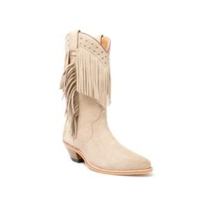 Compra en Noel Western Boots estas Botas Sendra Western para mujer de serraje beige con flecos modelo 6700 con envíos gratis a la península 17523
