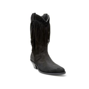 Compra en Noel Western Boots estas Botas Sendra Western para mujer de serraje negro con flecos modelo 6700 con envíos gratis a la península 17524