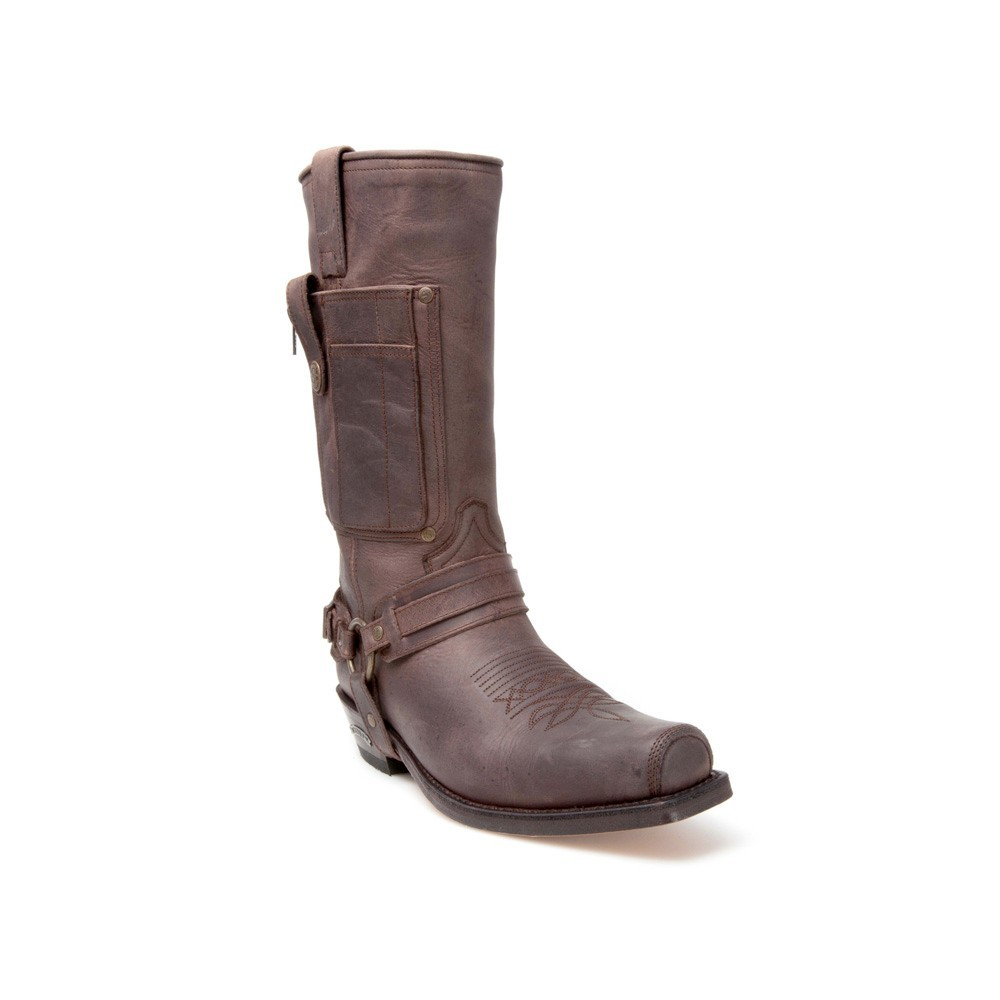 Compra en Noel Western Boots estas Botas Sendra Biker para hombre de cuero marrón con arnés y bolsillo modelo 3604 con envíos gratis a la península 17527 -