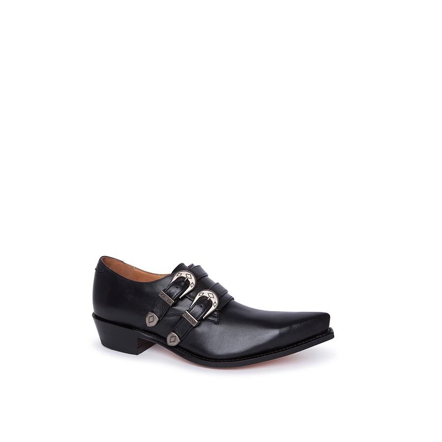 Compra en Noel Western Boots estos zapatos Sendra Western para hombre en cuero negro con 2 hebillas modelo 6357 horma cuervo con envíos gratis a península clave 18612 -