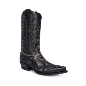 Compra en Noel Western Boots estas Botas Sendra Western para mujer de cuero negro con adornos bordados en beige con envíos gratis a la península clave 25987