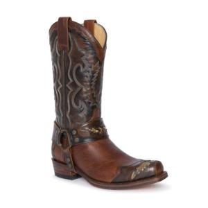 Compra en Noel Western Boots estas botas Sendra Motera para hombre en cuero marrón con arnés extraíble y decoraciones en piel de serpiente modelo 4060 horma 58 Seta con envíos gratis a península clave 31777