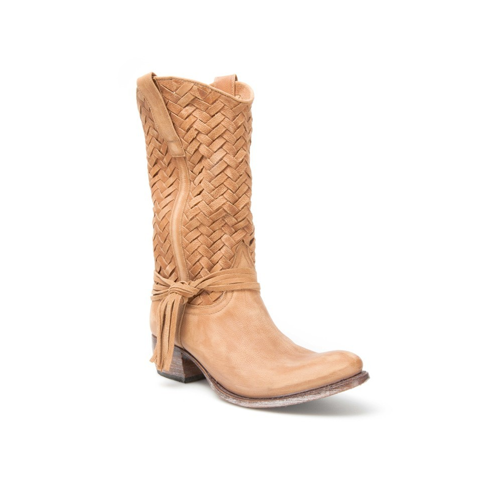 Boutique en ligne 4e118 4102b Botas Sendra 9627 Sara Moda para mujer en cuero beige con caña trenzada