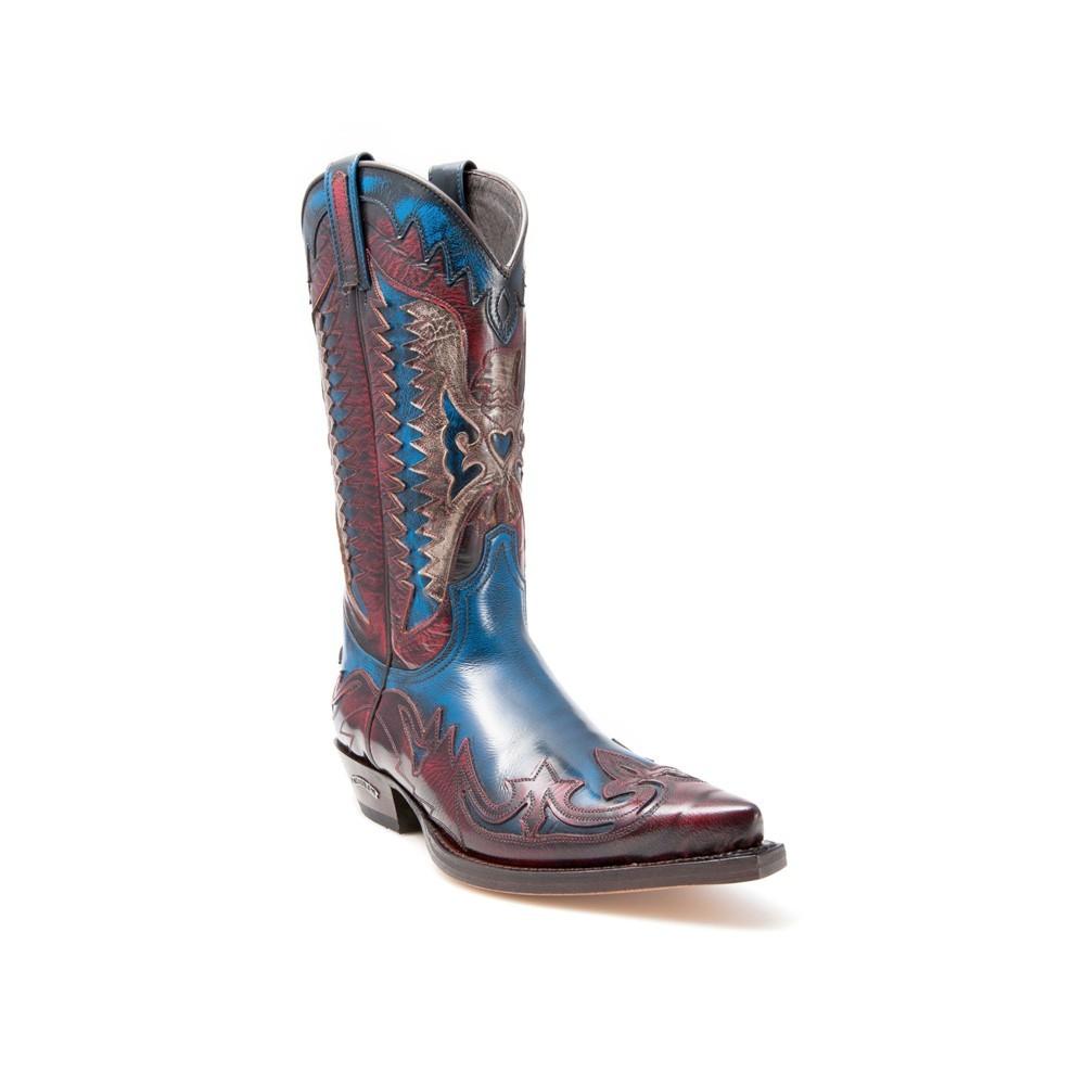 Compra en Noel Western Boots estas Botas Sendra Western para hombre de cuero granate y azul del modelo 3840 con envíos gratis a la península clave 38283 -