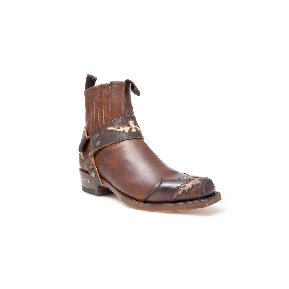 Compra en Noel Western Boots estos Botines Sendra Biker para hombre de cuero marrón con arnés adorno serpiente del modelo 10543 con envíos gratis a la península clave 41263 -