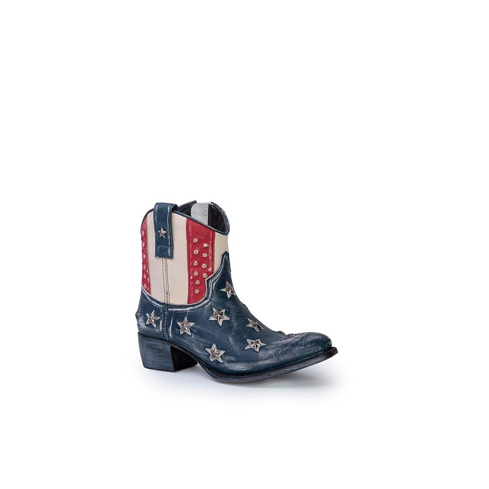 Compra en Noel Western Boots estos Botines Sendra Western para mujer de cuero color azul, rojo y blanco bandera USA america del modelo 10709 con envíos gratis a la península clave 41273 -