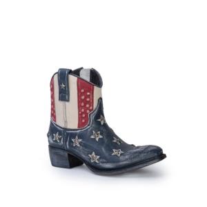 Compra en Noel Western Boots estos Botines Sendra Western para mujer de cuero color azul, rojo y blanco bandera USA america del modelo 10709 con envíos gratis a la península clave 41273
