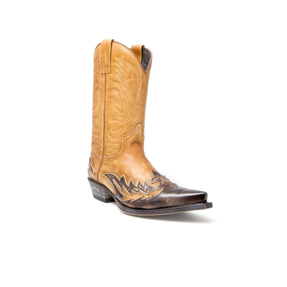 Compra en Noel Western Boots estas Botas Sendra Western para hombre de cuero marrón y camel del modelo 11645 con envíos gratis a la península clave 44373 -