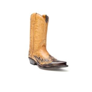 Compra en Noel Western Boots estas Botas Sendra Western para hombre de cuero marrón y camel del modelo 11645 con envíos gratis a la península clave 44373