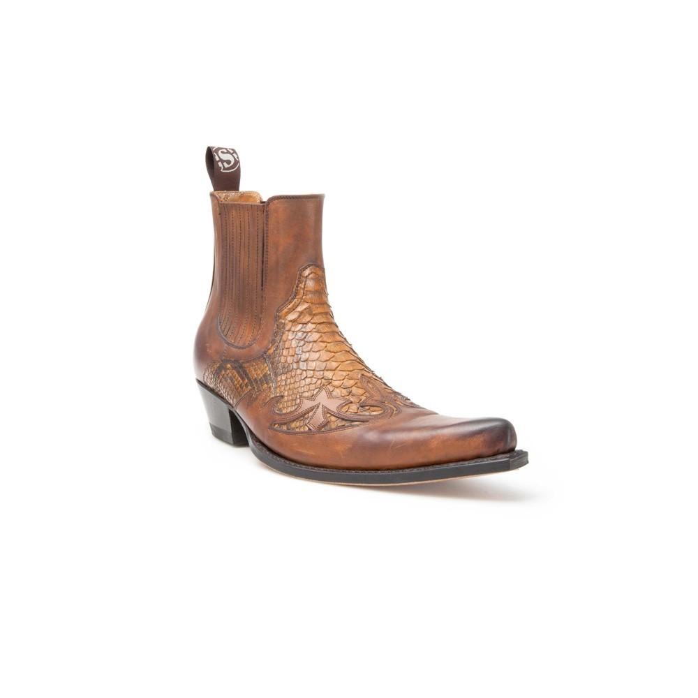 Compra en Noel Western Boots unos Botines Sendra Western para hombre de cuero y pitón color camel modelo 9396 con envíos gratis a la península clave 45663 -