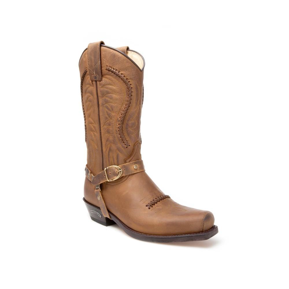 Compra en Noel Western Boots estas Botas Sendra Biker para Hombre de Cuero color Camel con Arnés con hebilla del modelo 3434 con envíos gratis a península clave 45665 -