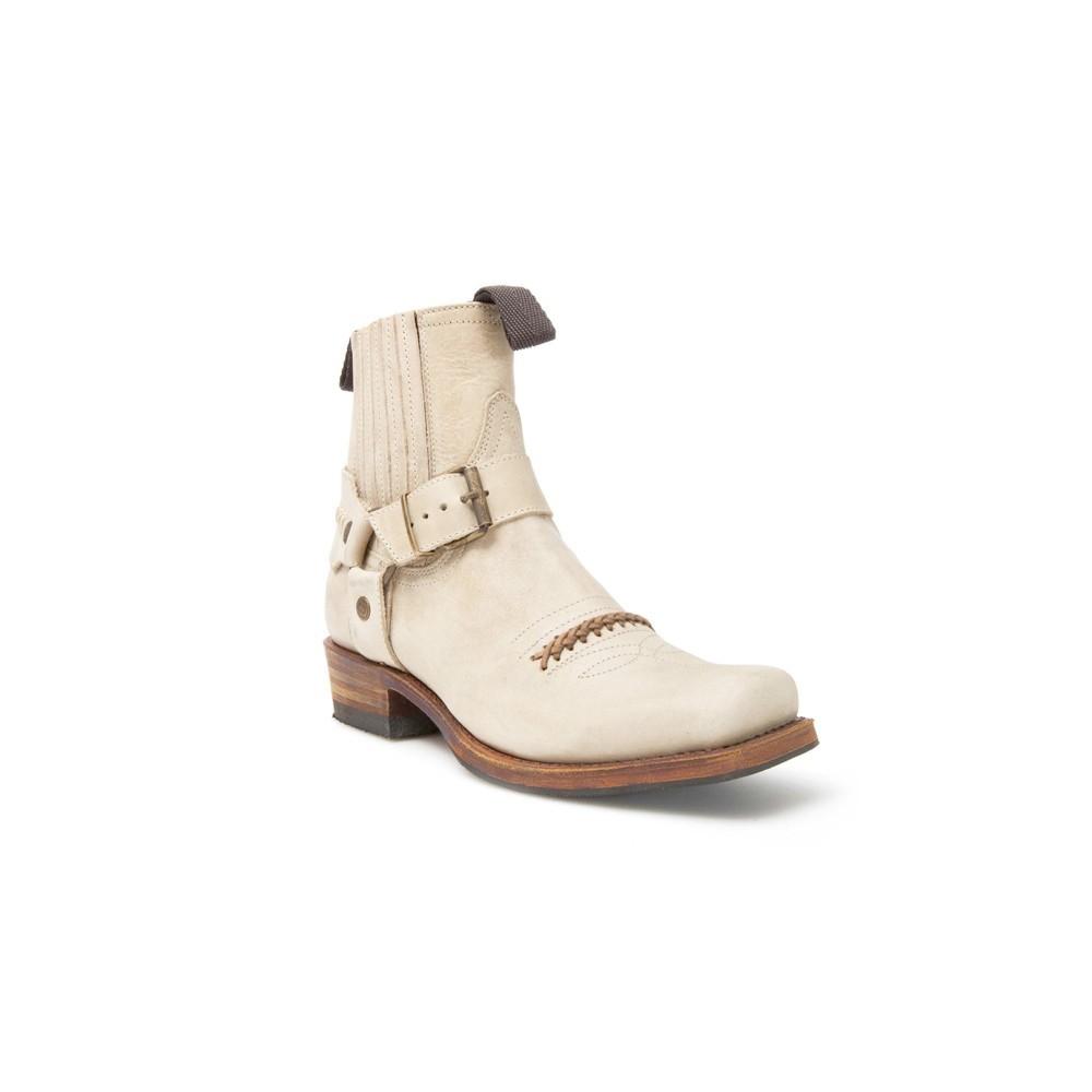 Compra en Noel Western Boots estos Botines Sendra Biker para mujer de cuero beige con arnés fijo modelo 6445 con envíos gratis a la península clave 47032 -