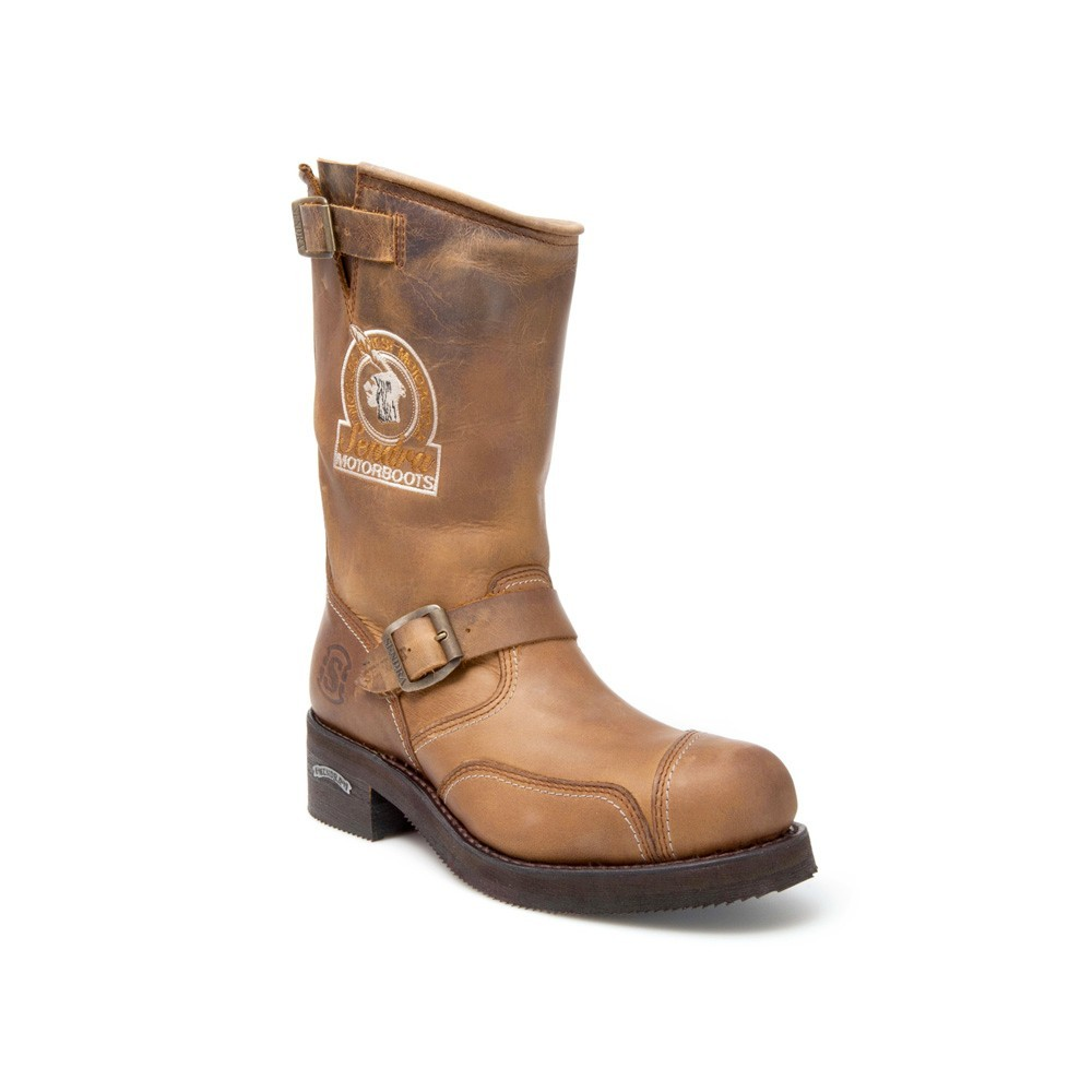 Compra en Noel Western Boots estas Botas Sendra Biker para hombre de cuero marrón con hebilla y bordado modelo 3565 con envíos gratis a la península 5115 -