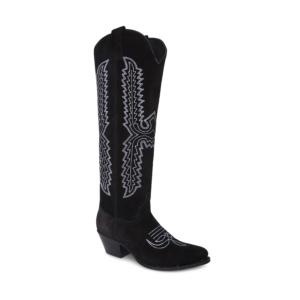 Compra en Noel Western Boots estas botas Sendra Western para mujer en serraje negro y bordado blanco con caña alta modelo 15821 horma Lia con envíos gratis a península clave 5146