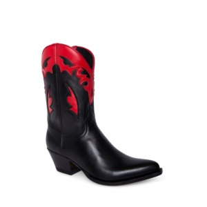 Compra en Noel Western Boots estos botines Sendra Western para mujer en cuero negro y rojo horma Lia con envíos gratis a península clave 5147