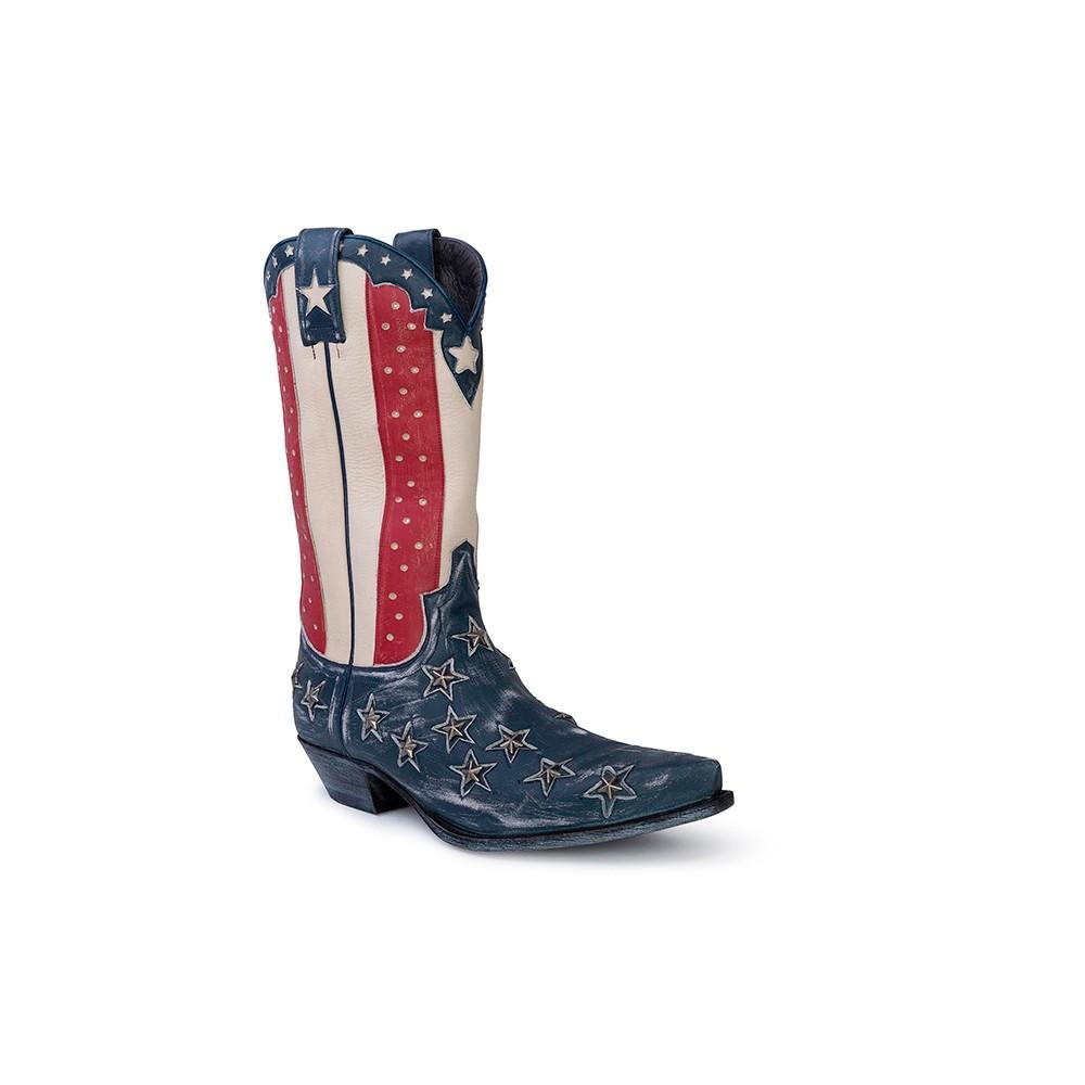Compra en Noel Western Boots estas Botas Sendra Western para hombre de cuero azul, rojo y blanco modelo 10695 con envíos gratis a la península clave 52648 -