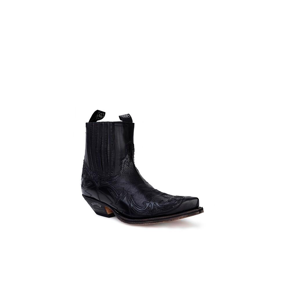 Compra en Noel Western Boots estos Botines Sendra Western para hombre en piel de vacuno con aspecto reptil negro modelo 4660 con envíos gratis a la península clave 53039 -