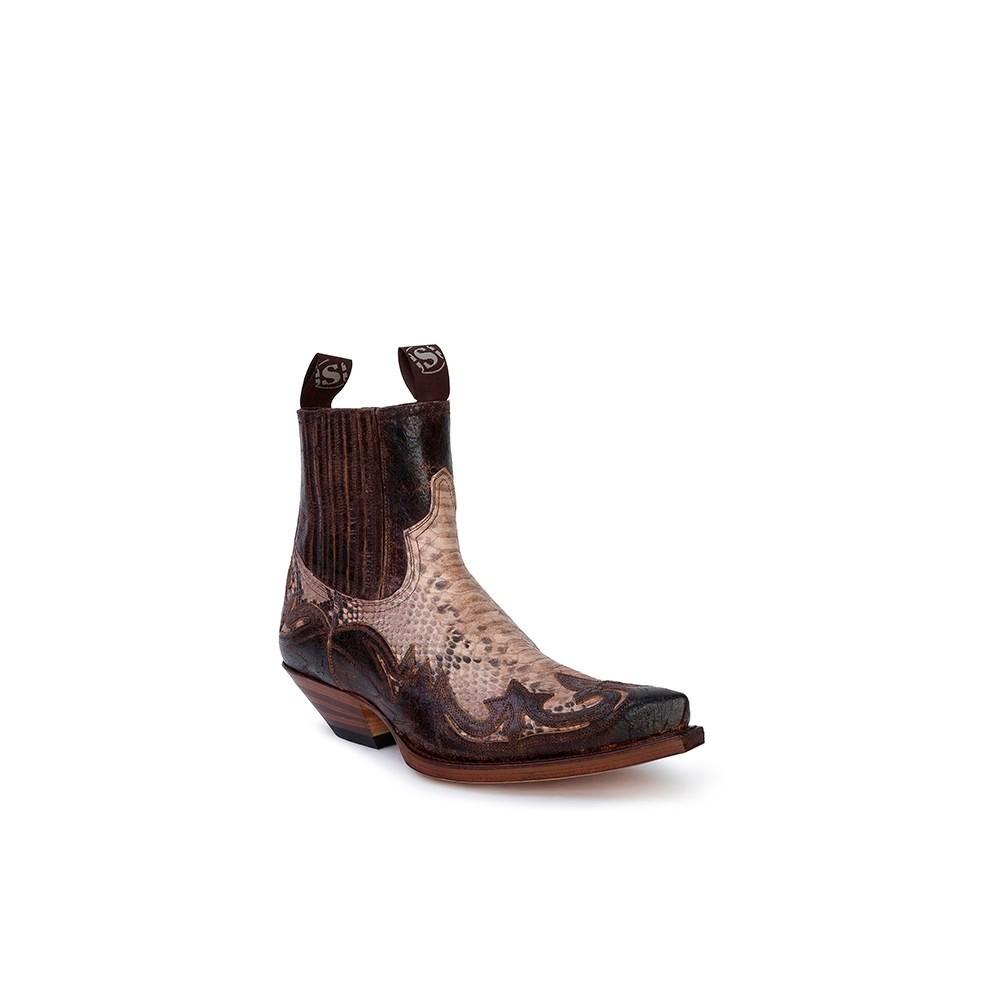 Compra en Noel Western Boots estos Botines Sendra Western para hombre de piel de vacuno aspecto reptil marrón modelo 4660 con envíos gratis a la península clave 53045 -
