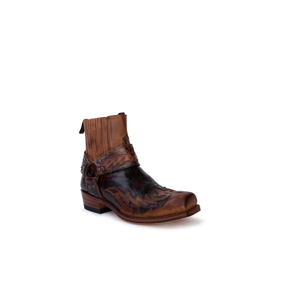 Compra en Noel Western Boots estos Botines Sendra Western para hombre de cuero marrón con arnés modelo 13887 con envíos gratis a la península clave 53054 -