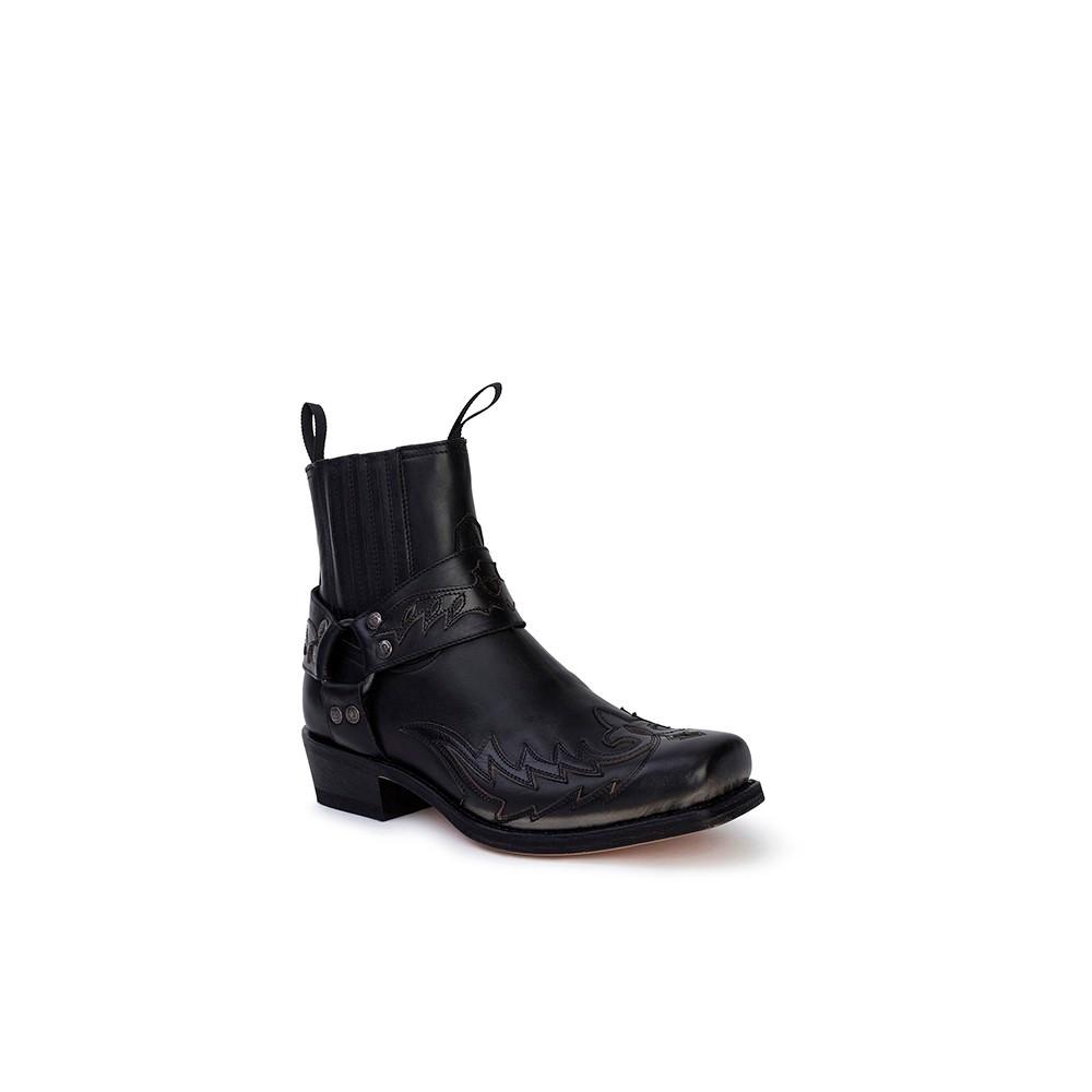 Compra en Noel Western Boots estos Botines Sendra Western para hombre de cuero negro con arnés modelo 13887 con envíos gratis a la península clave 53055 -