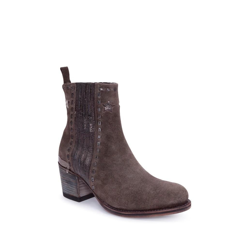 Compra en Noel Western Boots estos Botines Sendra moda para mujer en serraje gris antracita con estrellas modelo 13849 con envíos gratis a la península clave 53060 -