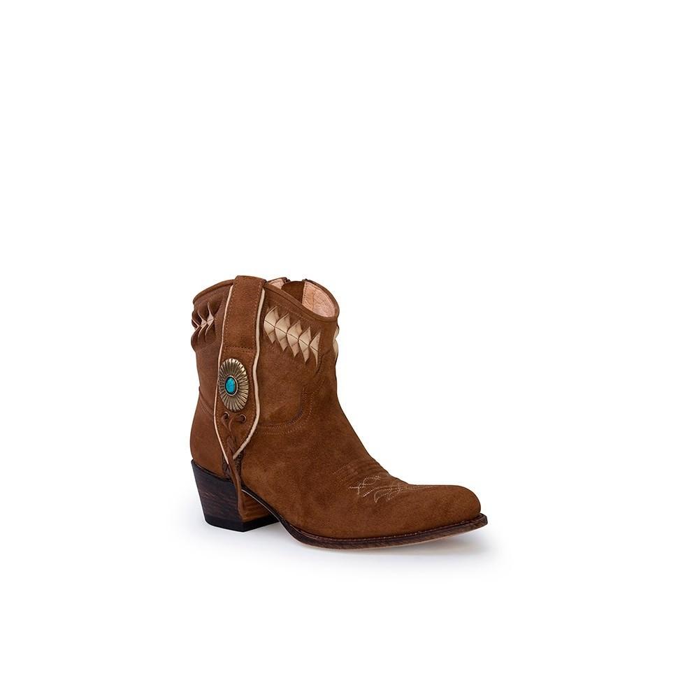 Compra en Noel Western Boots estos Botines Sendra Western para mujer de serraje camel modelo 13387 con envíos gratis a península clave 53065 -