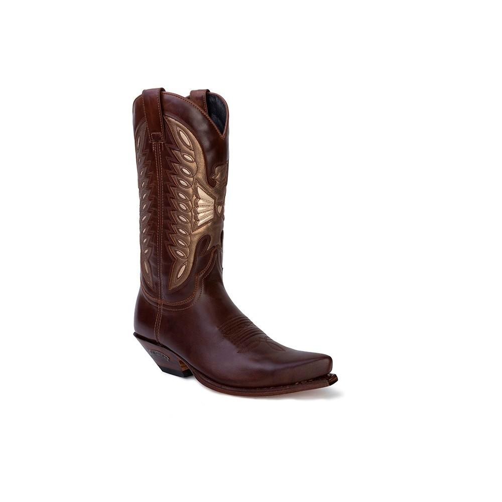 Compra en Noel Western Boots estas Botas Sendra Western para mujer de cuero marrón y bronce modelo 8850 con envíos gratis a la península clave 53074 -
