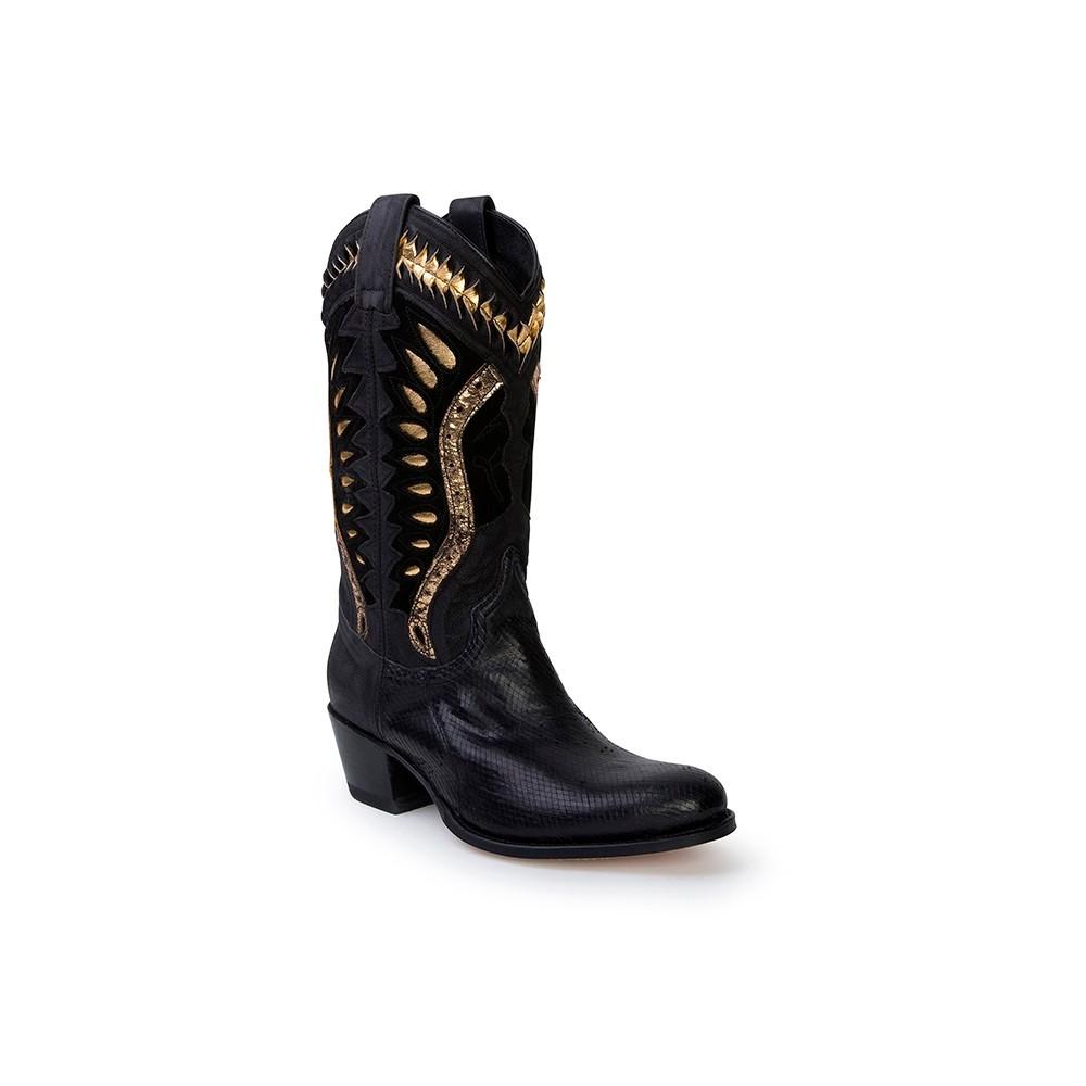 Compra en Noel Western Boots estas Botas Sendra Western para mujer de cuero negro y oro modelo 13921 con envíos gratis a la península clave 53082 -