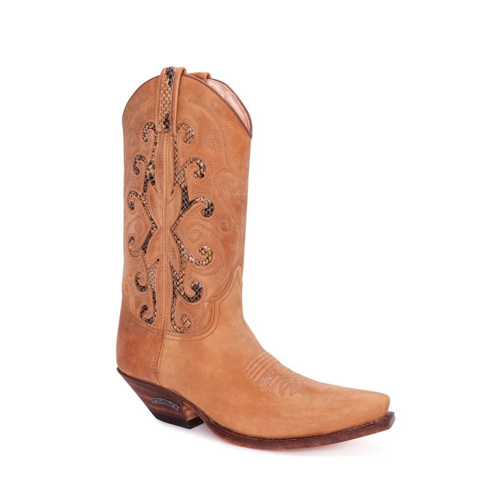 Compra en Noel Western Boots estas Botas Sendra Western para mujer de cuero beige con adornos serpiente con envíos gratis a la península clave 54785 -