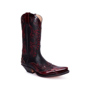 Compra en Noel Western Boots estas Botas Sendra Western para Hombre en cuero negro con bordado granate modelo 9768 con envíos gratis a península clave 54895