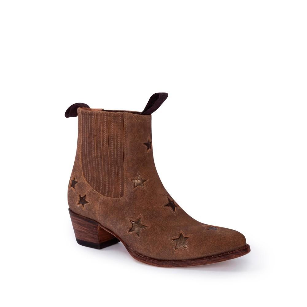 Compra en Noel Western Boots estos Botines Sendra moda para mujer en serraje marrón con estrellas bronce modelo 13698 con envíos gratis a la península clave 54898 -