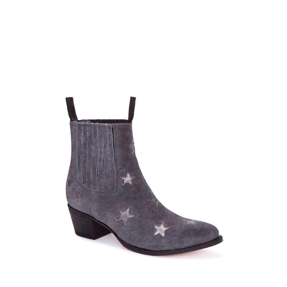 Compra en Noel Western Boots estos Botines Sendra moda para mujer en serraje gris con estrellas plateadas modelo 13698 con envíos gratis a la península clave 54889 -
