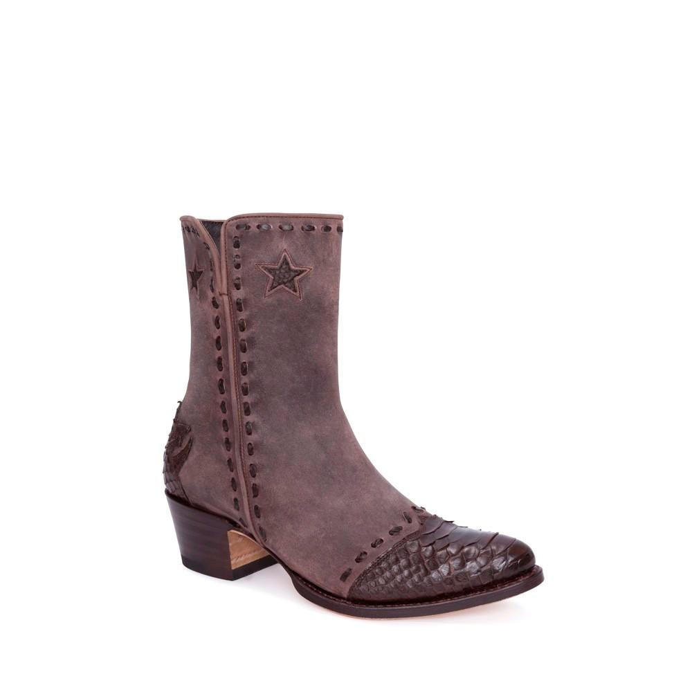 ahorrar descubre las últimas tendencias comprar online Botín Sendra 13088 Lia Moda para mujer en serraje marrón con decoraciones  en piel de serpiente