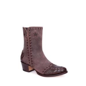 Compra en Noel Western Boots estos Botines Sendra moda para mujer en serraje marrón con decoraciones en piel de serpiente modelo 13088 con envíos gratis a la península clave 54908